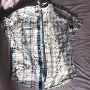2 Gently Used MENS Express Short Sleeve Shirt
